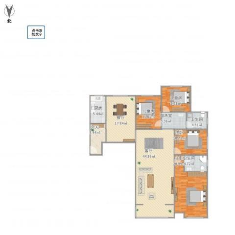 鼓楼上城4室3厅2卫1厨188.00㎡户型图