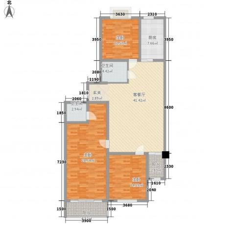 维多利国际广场二期3室1厅2卫1厨168.00㎡户型图