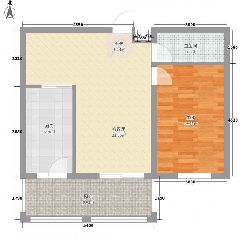 东侨国际44.40㎡K户型1室1厅1卫1厨