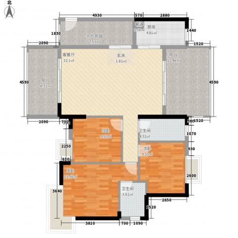 绿湖新�3室1厅2卫1厨149.00㎡户型图
