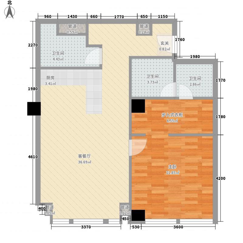 凯悦中心114.35㎡0422-35层户型1室2厅2卫1厨