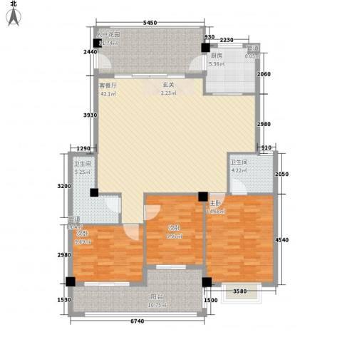 印象后街(鸿禧花园)3室1厅2卫1厨128.00㎡户型图