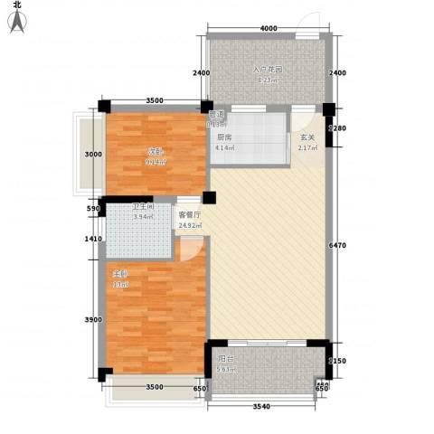 金地华府2室1厅1卫1厨82.00㎡户型图