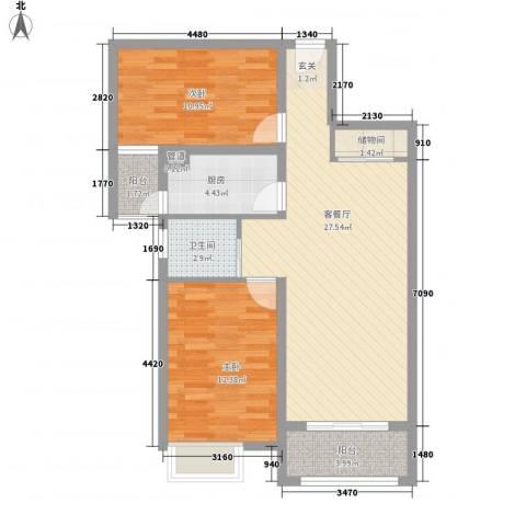 城投・御园2室1厅1卫1厨65.46㎡户型图