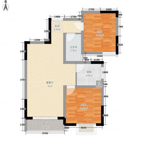 繁华世家2室1厅1卫1厨94.00㎡户型图