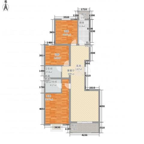 津港国际3室1厅2卫1厨127.00㎡户型图