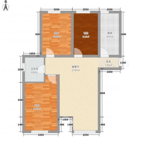 金色河畔3室1厅1卫1厨136.00㎡户型图
