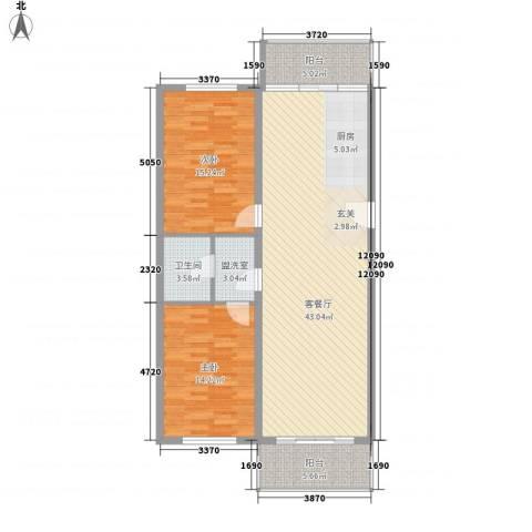 绿海田园2室2厅1卫0厨89.80㎡户型图