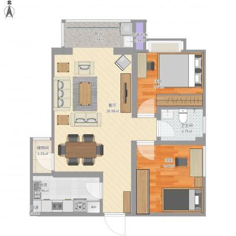 铭城国际社区2室1厅1卫1厨60.60㎡户型图