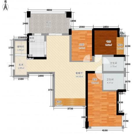 水仙花园3室1厅2卫1厨114.00㎡户型图