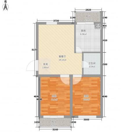 银城花园2室1厅1卫1厨80.00㎡户型图