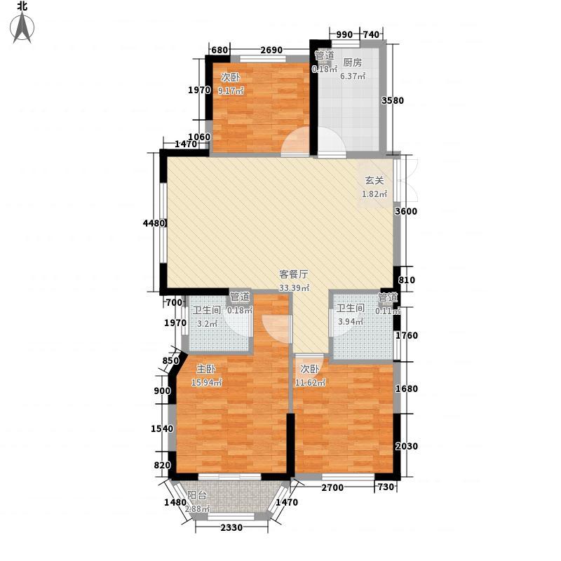 米兰花园122.63㎡3期户型3室1厅2卫1厨