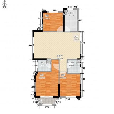 米兰花园3室1厅2卫1厨98.10㎡户型图