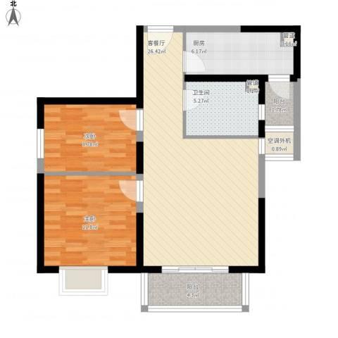 上上城青年社区二期2室1厅1卫1厨95.00㎡户型图