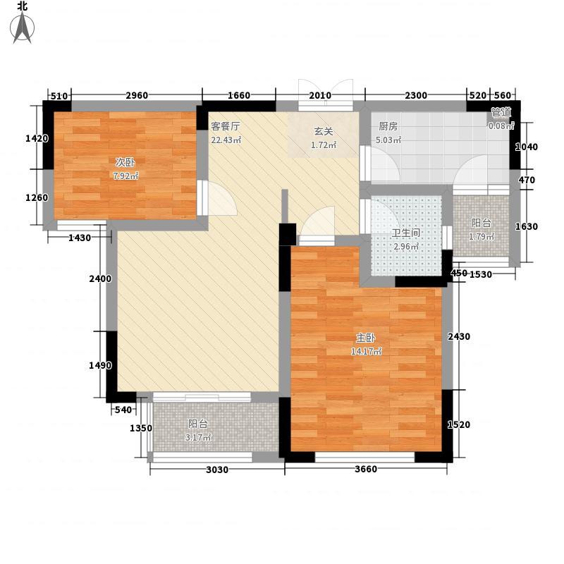 郑西建业森林半岛85.00㎡三期A户型2室2厅1卫1厨