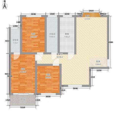 万豪苑3室1厅2卫1厨136.00㎡户型图