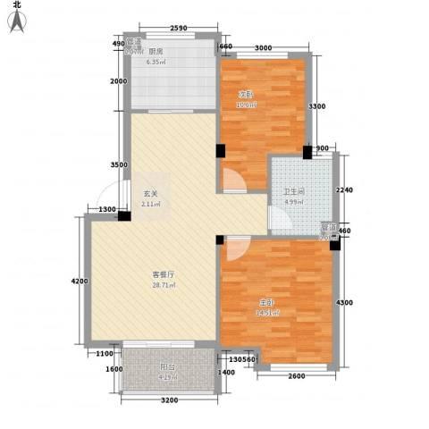 雍景园国际公寓2室1厅1卫1厨97.00㎡户型图
