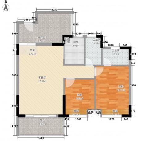 瑞峰爱地2室1厅2卫1厨87.00㎡户型图