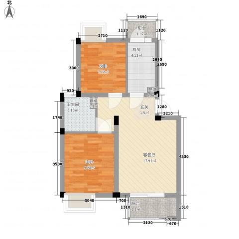 南苑六村2室1厅1卫1厨67.00㎡户型图