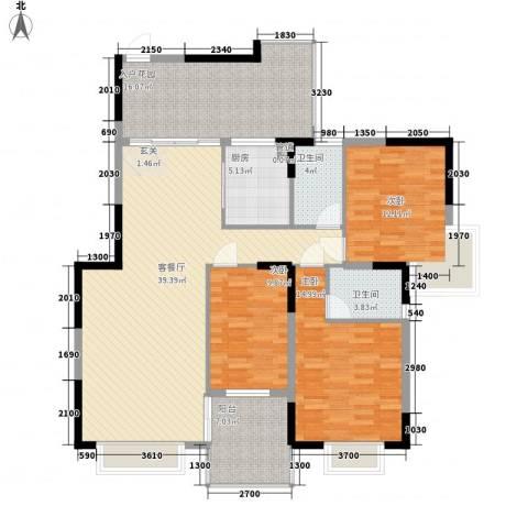 邮电新村3室1厅2卫1厨112.50㎡户型图
