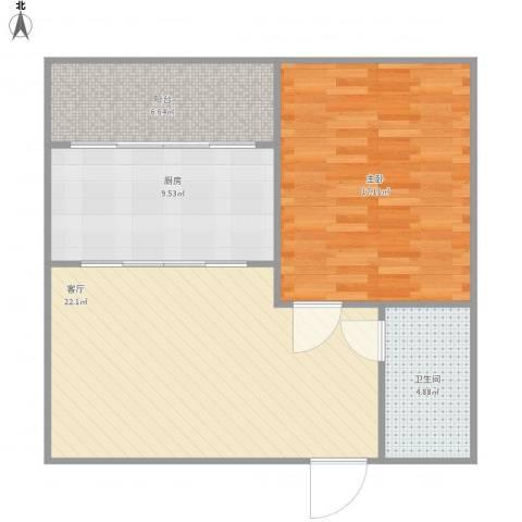 怡泰大厦1室1厅1卫1厨81.00㎡户型图