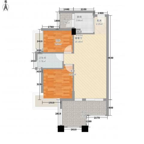 米兰生活2室1厅1卫1厨60.06㎡户型图
