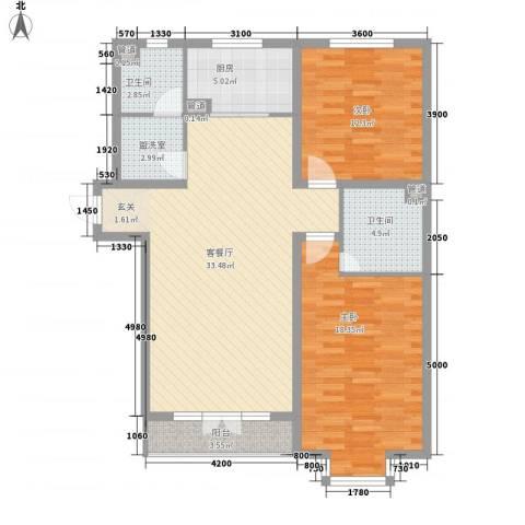 富士苑2室2厅2卫1厨119.00㎡户型图