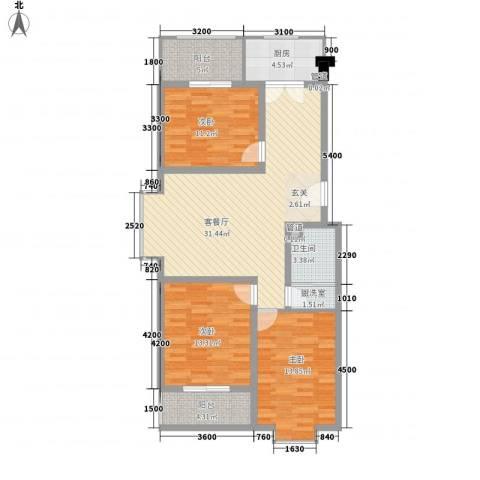 龙昌滨河源3室2厅1卫1厨113.00㎡户型图