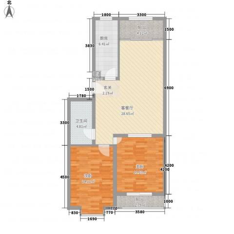 龙昌滨河源2室1厅1卫1厨74.20㎡户型图