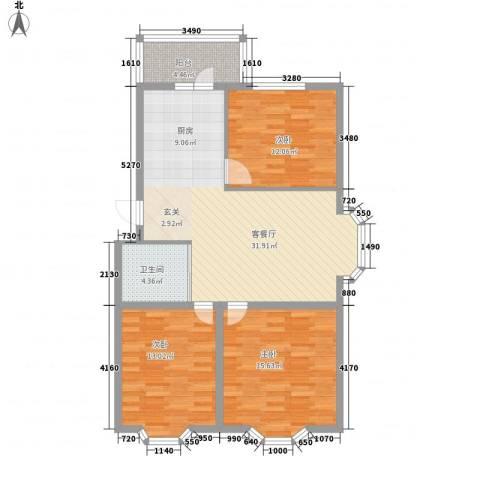 亿兴润景3室1厅1卫0厨114.00㎡户型图