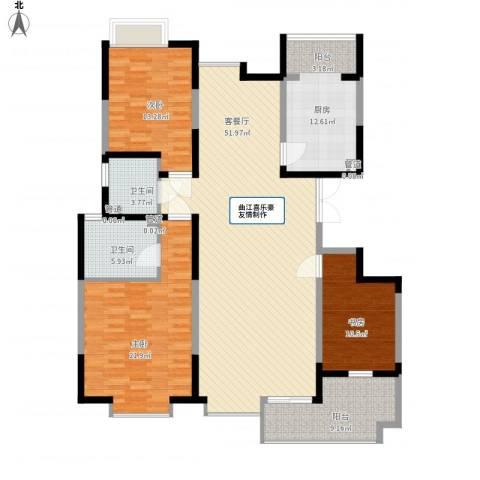 天地源曲江华府3室1厅2卫1厨181.00㎡户型图