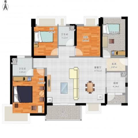 汇景御海蓝岸3室1厅2卫1厨138.00㎡户型图