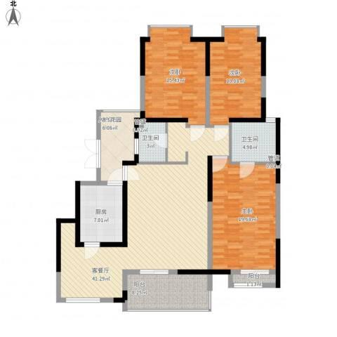 天地源曲江华府3室1厅2卫1厨170.00㎡户型图