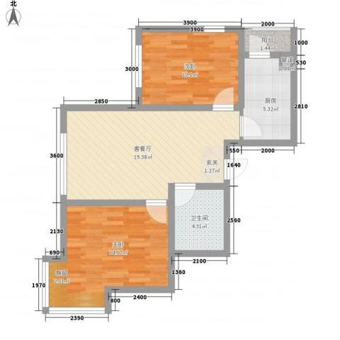 汇水湾2室1厅1卫1厨80.00㎡户型图