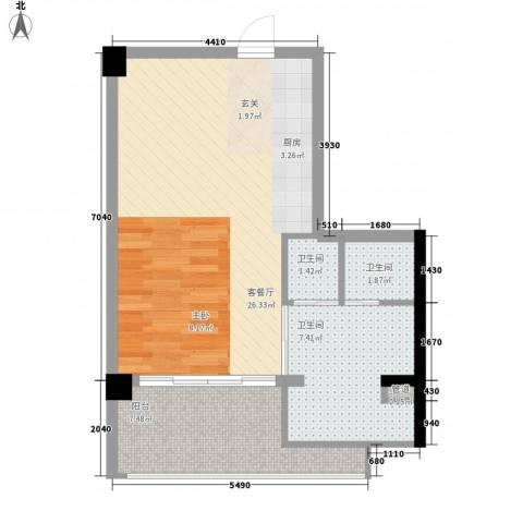 三亚湾红树林度假世界1厅3卫0厨69.00㎡户型图