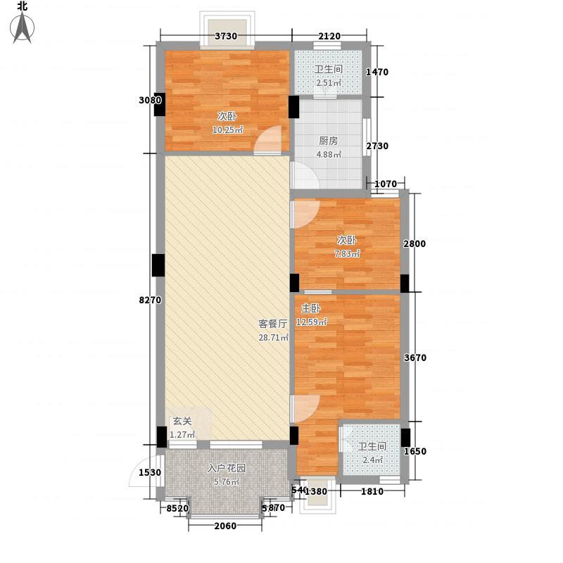 新濠华庭15.00㎡B单位户型3室2厅2卫
