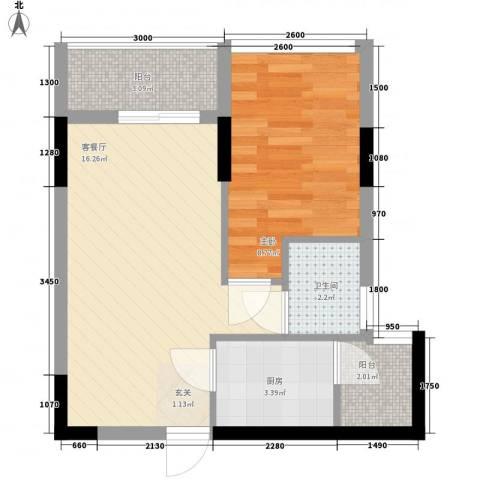 福满园1室1厅1卫1厨52.00㎡户型图