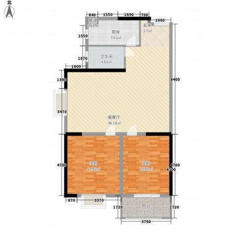 贵熙园2室1厅1卫1厨97.35㎡户型图