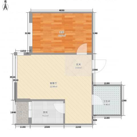 运华广场(江北)1室1厅1卫1厨64.00㎡户型图