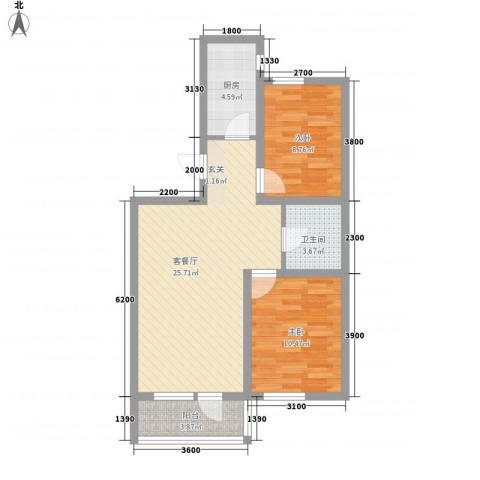 汇水湾2室1厅1卫1厨83.00㎡户型图