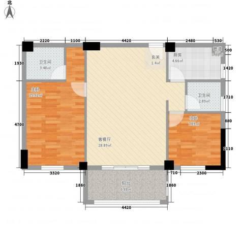 集美红树康桥2室1厅2卫1厨99.00㎡户型图