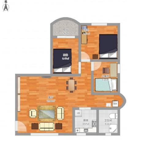 龙珠花园3室1厅1卫1厨85.00㎡户型图