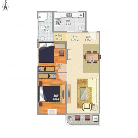 穗茵园2室1厅1卫1厨72.00㎡户型图
