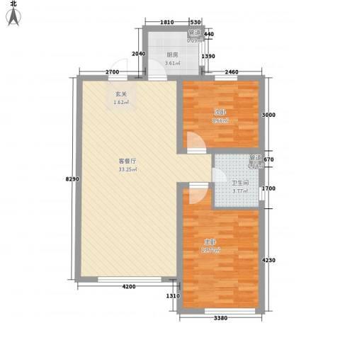 黄金家园2室1厅1卫1厨63.29㎡户型图
