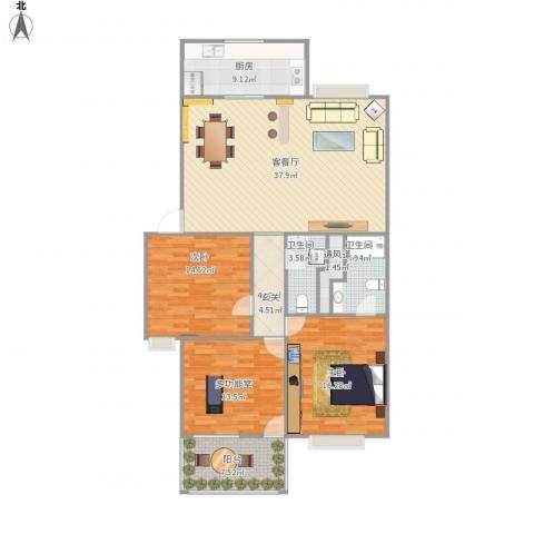 汇统花园2室1厅2卫1厨152.00㎡户型图