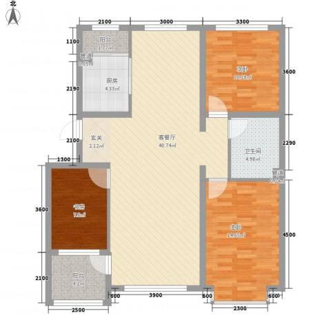 万达长白山国际度假区3室1厅1卫1厨115.00㎡户型图