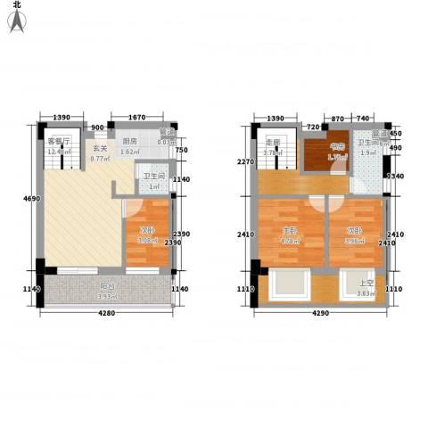 五米阳光二期4室1厅2卫0厨62.00㎡户型图