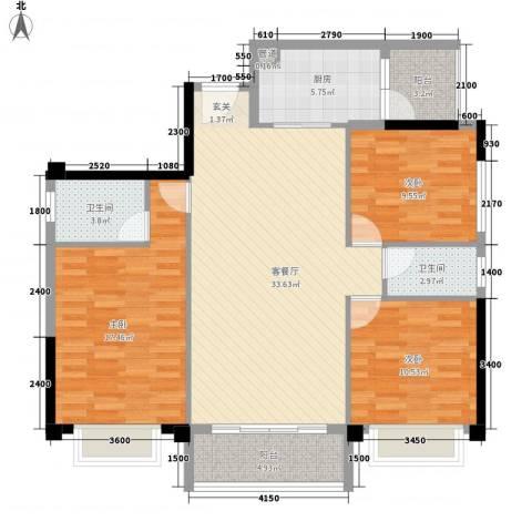 简爱社区3室1厅2卫1厨129.00㎡户型图