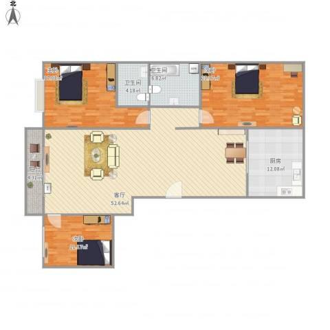 文华苑3室1厅2卫1厨172.00㎡户型图