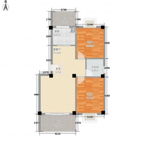 印象后街(鸿禧花园)2室1厅1卫1厨83.00㎡户型图